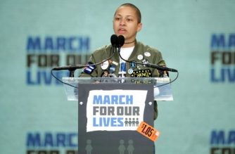 WASHINGTON, DC - MARCH 24: Tears roll down the face of Marjory Stoneman Douglas High School student Emma Gonzalez addresses the March for Our Lives rally on March 24, 2018 in Washington, DC. Hundreds of thousands of demonstrators, including students, teachers and parents gathered in Washington for the anti-gun violence rally organized by survivors of the Marjory Stoneman Douglas High School shooting on February 14 that left 17 dead. More than 800 related events are taking place around the world to call for legislative action to address school safety and gun violence.   Chip Somodevilla/Getty Images/AFP