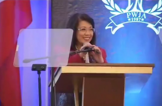 Chief Justice Maria Lourdes Sereno delivers her message during the the 23rd annual convention seminar and 30th anniversary of the Philippine Women Judges Association on Thursday, March 8, at the Manila Hotel, Manila.