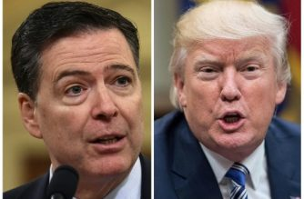 "(FILES) These two file photos show then FBI Director James Comey (L) in Washington, DC, on March 20, 2017; and US President Donald Trump in Washington, DC, on June 6, 2017.  Former FBI director James Comey says in a new book that President Donald Trump reminded him of a mafia boss who demanded absolute loyalty, saw the entire world against him, and lied about everything. According to excerpts of the book leaked by US media on Thursday, April 12, 2018, Trump was also obsessed with the alleged existence of a video in which Russian prostitutes said to be hired by Trump urinated on the bed in a Moscow hotel room. In the book to be released officially next Tuesday, April 17, 2018, Comey, whom Trump fired in May 2017, says the US president lives in ""a cocoon of alternative reality"" that he tried to pull others around him into, according to The Washington Post.  / AFP PHOTO / NICHOLAS KAMM AND Nicholas Kamm"