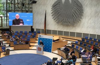 Former Afghan president Hamid Karzai speaking at the Global Media Forum in Bonn, Germany.  (Photo by Malou Francisco, EBC Europe correspondent, Eagle News Service)