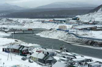 (FILE) A picture taken on December 12, 2016 shows the town of Kurilsk on the island of Iturup, known as one of the Kuril Islands in Russia and the Northern Territories in Japan. / AFP Photo / Andrey Kovalenko