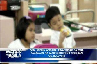 Senador Sonny Angara, pinatitiyak sa mga paaralan na magkaroon ng program vs bullying
