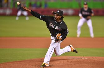 MIAMI, FL - AUGUST 10: Jose Urena #62 of the Miami Marlins throws a pitch in the first inning against the New York Mets at Marlins Park on August 10, 2018 in Miami, Florida.   Mark Brown/Getty Images/AFP
