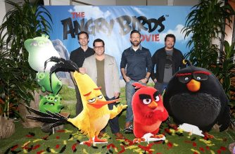 """FILES: CULVER CITY, CA - FEBRUARY 23: (L-R) Actors Bill Hader, Josh Gad, Jason Sudeikis and Danny McBride attend a photo call and Q&A session for a """"Sneak Beak"""" of Columbia Pictures and Rovio Animations' ANGRY BIRDS at Sony Pictures Studios on February 23, 2016 in Culver City, California.   Jesse Grant/Getty Images for Sony Pictures Entertainment/AFP"""