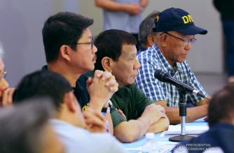 President Rodrigo Roa Duterte listens to the updates on the government's disaster response operations following the onslaught of Typhoon Rosita in Region 2 and in the Cordillera Administrative Region (CAR ) during a situation briefing at the Hotel Andrea in Cauayan City, Isabela on November 1, 2018. ARCEL VALDERRAMA/PRESIDENTIAL PHOTO