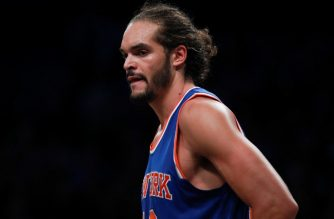 NEW YORK, NY - OCTOBER 20: Joakim Noah #13 of the New York Knicks looks on against the Brooklyn Nets during their preseason game at Barclays Center on October 20, 2016 in New York City. NOTE TO USER: User expressly acknowledges and agrees that, by downloading and or using this photograph, User is consenting to the terms and conditions of the Getty Images License Agreement.   Michael Reaves/Getty Images/AFP