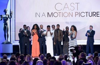 """LOS ANGELES, CA - JANUARY 27: (L-R) Sterling K. Brown, Sydelle Noel, Michael B. Jordan, Danai Gurira, Isaach De Bankole, Chadwick Boseman, Lupita Nyong'o, Angela Bassett, and Andy Serkis accept the Outstanding Performance by a Cast in a Motion Picture for """"Black Panther"""" onstage during the 25th Annual Screen ActorsGuild Awards at The Shrine Auditorium on January 27, 2019 in Los Angeles, California.   Kevork Djansezian/Getty Images/AFP"""