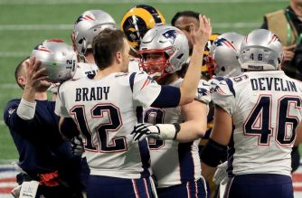 ATLANTA, GA - FEBRUARY 03: Tom Brady #12 of the New England Patriots celebrates after winning the Super Bowl LIII at against the Los Angeles Rams Mercedes-Benz Stadium on February 3, 2019 in Atlanta, Georgia. The New England Patriots defeat the Los Angeles Rams 13-3.   Mike Ehrmann/Getty Images/AFP