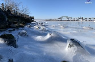 A polar vortex hits North America plummeting temperatures below freezing and causing body of water to freeze.  On Newark Bay in New Jersey, waves were frozen as they were crashing upon rocks on the shore. Photo by Maynard Binaday, EBC New Jersey  Bureau, Eagle News Service.