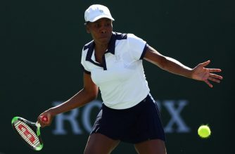 INDIAN WELLS, CALIFORNIA - MARCH 07: Venus Williams of the United States plays a forehand against Andrea Petkovic of Germany during their women's singles first round match against on Day 4 of the BNP Paribas Open at the Indian Wells Tennis Garden on March 07, 2019 in Indian Wells, California.   Yong Teck Lim/Getty Images/AFP