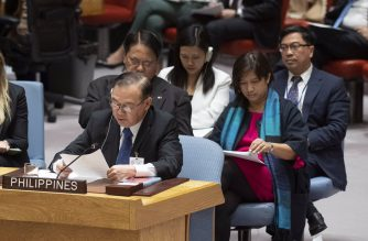 The Philippine delegation at the UN Security Council headed by Foreign Affairs Secretary Teodoro L. Locsin Jr. at the open debate on combating the financing of terrorism (UN photo by Eskinder Debebe as posted in DFA website)