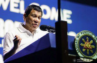 (File photo) President Rodrigo Roa Duterte delivers his speech during the Partido Demokratiko Pilipino-Lakas ng Bayan (PDP-Laban) campaign rally at the Caraga State University in Cabadbaran City, Agusan del Norte on April 21, 2019. ARMAN BAYLON/PRESIDENTIAL PHOTO