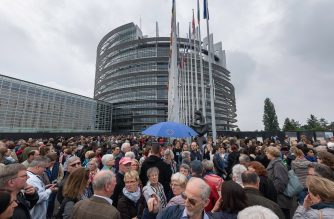 People line up to visit the building during the open day at the European Parliament in Strasbourg, eastern France, on May 19, 2019, one week ahead of upcoming European elections. - European elections will be held from May 22 to 26, 2019. (Photo by PATRICK HERTZOG / AFP)