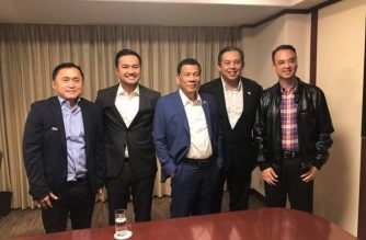 Reps. Lord Allan Velasco and Martin Romualdez, and Congressman-elect Alan Peter Cayetano meet with President Rodrigo Duterte in Japan. The three are vying for the House speakership./Bong Go/