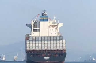 In photo: The MV Bavaria carrying at least 1000 tons of Canada trash leaves Subic port