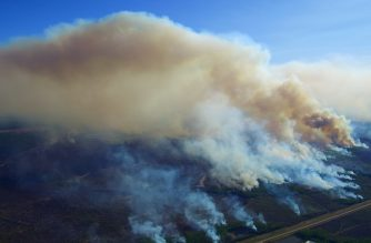 Wildfire consumes forest in northern Alberta. Photo courtesy of Alberta Government.