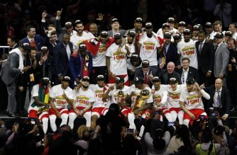 OAKLAND, CALIFORNIA - JUNE 13: The Toronto Raptors pose for a photo after their team defeated the Golden State Warriors to win Game Six of the 2019 NBA Finals at ORACLE Arena on June 13, 2019 in Oakland, California. NOTE TO USER: User expressly acknowledges and agrees that, by downloading and or using this photograph, User is consenting to the terms and conditions of the Getty Images License Agreement.   Lachlan Cunningham/Getty Images/AFP