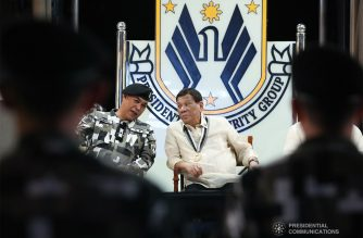 President Rodrigo Roa Duterte chats with Presidential Security Group (PSG) Commander Brigadier General Jose Niembra during the 122nd PSG anniversary at the PSG Compound on June 26, 2019. ROBINSON NIÑAL JR./PRESIDENTIAL PHOTO