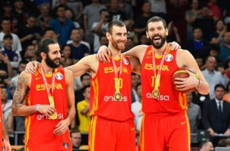 BEIJING, CHINA - SEPTEMBER 15: Team Spain celebrates after the game against Team Argentina during the 2019 FIBA World Cup Finals at the Cadillac Arena on September 15, 2019 in Beijing, China. NOTE TO USER: User expressly acknowledges and agrees that, by downloading and/or using this Photograph, user is consenting to the terms and conditions of the Getty Images License Agreement. Mandatory Copyright Notice: Copyright 2019 NBAE   Jesse D. Garrabrant/NBAE via Getty Images/AFP