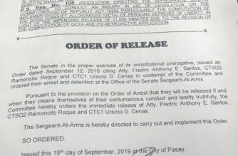 Senate panel orders release from detention of Santos, Roque, Cenas