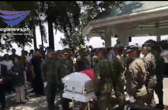 PMA Cadet 4th Class Darwin Dormitorio, who allegedly died due to injuries sustained from hazing, was given full military honors at his burial today, Sept. 25./Daphne Apayor/Eagle News/