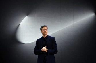 """(FILES) In this file photo taken on March 16, 2016 Nike president and CEO Mark Parker reveals their latest innovative sports products during an event in New York. - Nike never participated in efforts to """"systematically dope"""" runners, CEO Mark Parker said in an email obtained by AFP on October 2, 2019 after sponsored coach Alberto Salazar was given a four-year ban for doping. (Photo by Jewel SAMAD / AFP)"""