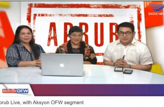 """""""Aprub Live""""  hosted by Eagle News Service reporter Eden Suarez, with the segment """"Aksyon OFW"""" co-hosted by ACTS OFW Partylist Rep. John Bertiz, tackles the issues currently affecting overseas Filipino workers (OFWs) on its first online episode on Saturday, Oct. 5, 2019.  Aprub Live online premiered last Saturday over Eagle News Live and Eagle News Live Facebook.  (Eagle News Service)"""