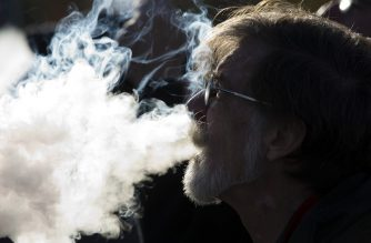 Demonstrator vapes during a rally outside of the White House to protest the proposed vaping flavor ban in Washington DC on November 9, 2019. (Photo by Jose Luis Magana / AFP)
