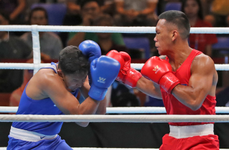 Eumir Felix Marcial of the Philippines in red wins the boxing bout against his opponent Che Azmi Mohd Aswan of Malaysia on 75kg weight on Friday December 06,2019 evening during the 30th SEA Games.( Photo courtesy Nonie Reyes, 2019 SEAGames)