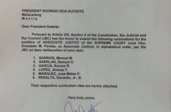 JBC submits shortlist of nominees to SC associate justice post to Duterte