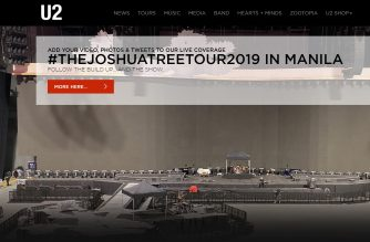 """U2 stages its first ever concert in the Philippines, """"The Joshua Tree Tour 2019"""" in Manila to be held at the 55,000-seater Philippine Arena.  (Screen capture from U2 website/Courtesy U2 website)"""