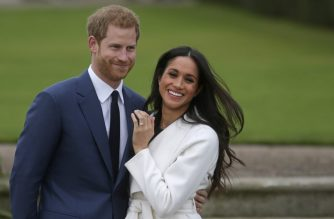 "(FILES) In this file photo taken on on November 27, 2017, Britain's Prince Harry stands with his fiancee US actress Meghan Markle as she shows off her engagement ring whilst they pose for a photograph in the Sunken Garden at Kensington Palace in west London, following the announcement of their engagement. - Britain's Prince Harry and his wife Meghan will give up their titles and stop receiving public funds following their decision to give up front-line royal duties, Buckingham Palace said on January 18, 2020. ""The Sussexes will not use their HRH titles as they are no longer working members of the Royal Family,"" the Palace said, adding that the couple have agreed to repay some past expenses. (Photo by Daniel LEAL-OLIVAS / AFP)"