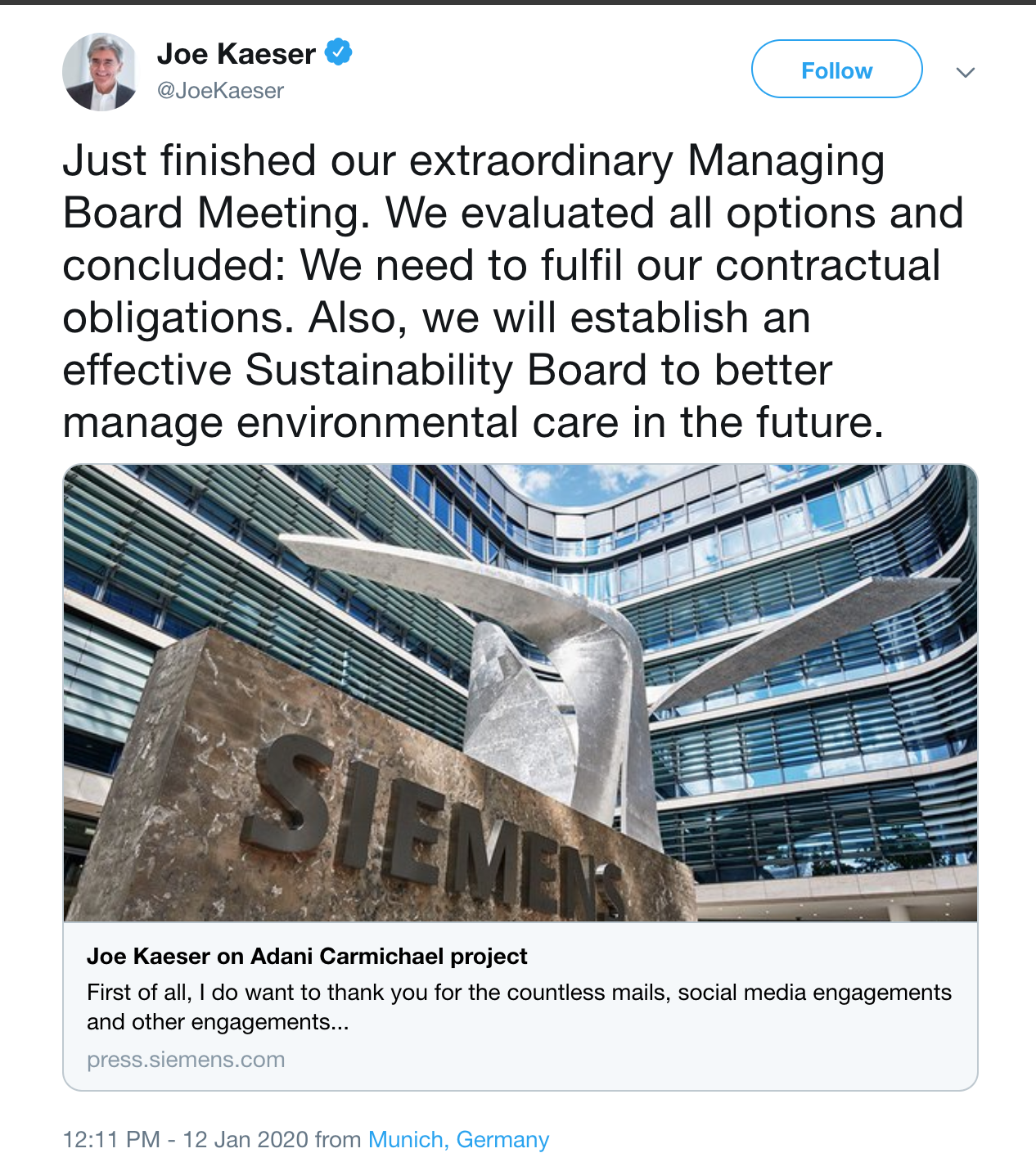 Twitter post of Siemen's CEO