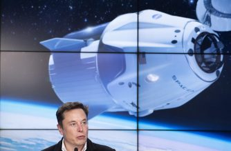 (FILES) In this file photo taken on March 2, 2019 SpaceX chief Elon Musk speaks during a press conference after the launch of SpaceX Crew Dragon Demo mission at the Kennedy Space Center in Florida. - SpaceX announced a new partnership February 18, 2020, to send four tourists deeper into orbit than any private citizen before them, in a mission that could take place by 2022 and easily cost more than $100 million. The company signed the deal with Space Adventures, which is based in Washington and served as an intermediary to send eight space tourists to the International Space Station (ISS) via Russian Soyuz rockets. (Photo by Jim WATSON / AFP)