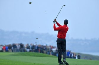 SAN DIEGO, CALIFORNIA - JANUARY 26: Tiger Woods plays a shot during the final round of the Farmers Insurance Open at Torrey Pines South on January 26, 2020 in San Diego, California.   Donald Miralle/Getty Images/AFP