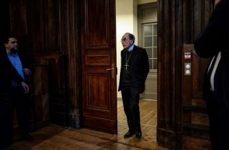 (FILES) In this file photo taken on January 30, 2020 Cardinal Philippe Barbarin arrives to speak during a press conference at the diocese in Lyon after a French appeals court overturned the cardinal's conviction for failing to report alleged sex abuse by a priest. - The Pope has accepted the resignation of French Cardinal Philippe Barbarin, whose conviction for shielding an alleged child-molesting priest was overturned on appeal last month, the Catholic Church in Lyon said on March 6, 2020. (Photo by JEFF PACHOUD / AFP)