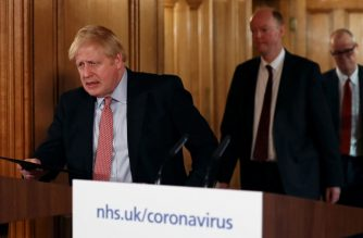 (File photo) Britain's Prime Minister Boris Johnson (L) arrives at a news conference addressing the government's response to the novel coronavirus COVID-19 outbreak, at 10 Downing Street in London on March 12, 2020. - Britain on Thursday said up to 10,000 people in the UK could be infected with the novel coronavirus COVID-19, as it announced new measures to slow the spread of the pandemic. (Photo by SIMON DAWSON / POOL / AFP)