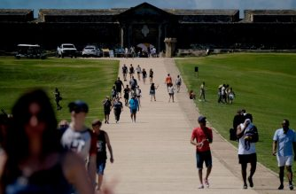 Tourist visit El Morro fort in San Juan, on March 14, 2020. (Photo by Ricardo ARDUENGO / AFP)