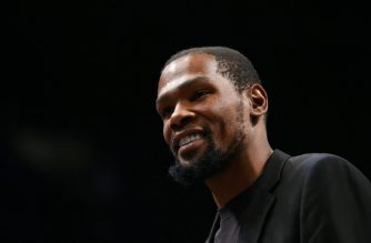 NEW YORK, NEW YORK - JANUARY 23: Kevin Durant #7 of the Brooklyn Nets looks on during the game against the Los Angeles Lakers at Barclays Center on January 23, 2020 in New York City. NOTE TO USER: User expressly acknowledges and agrees that, by downloading and or using this photograph, User is consenting to the terms and conditions of the Getty Images License Agreement.   Mike Stobe/Getty Images/AFP