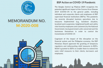 (Courtesy: Bangko Sentral ng Pilipinas) The BSP issued Memorandum 2020-008, outlining the relief packages that BSP supervised financial institutions may avail of to cushion the impact of COVID-19 on their employees, borrowers, and clients.