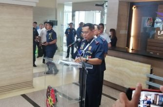 PNP Chief General Archie Gamboa reported to work on Monday, March 9, days after he figured in a helicopter crash in San Pedro, Laguna./Mar Gabriel/Eagle News/