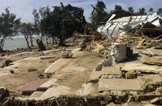 "This handout photo taken and released by the Tonga Police on April 9, 2020 shows damage to a tourist resort cause by Tropical Cyclone Harold in the Hihifo coastal area. - A resurgent Tropical Cyclone Harold flattened tourist resorts in Tonga on April 9, extending a week-long trail of destruction across four South Pacific island nations that has claimed more than two dozen lives. (Photo by Handout / TONGA POLICE / AFP) / -----EDITORS NOTE --- RESTRICTED TO EDITORIAL USE - MANDATORY CREDIT ""AFP PHOTO / TONGA POLICE"" - NO MARKETING - NO ADVERTISING CAMPAIGNS - DISTRIBUTED AS A SERVICE TO CLIENTS"