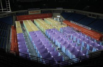A 132-bed COVID-19 facility at the Philippine Sports Arena or ULTRA in Pasig City has been completed within three days, the DPWH reported. (Courtesy: DPWH)