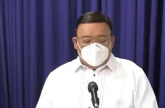 Presidential Spokesperson Harry Roque holds a virtual press briefing on April 30, 2020 in Malacanang.  (Courtesy PCOO/Screenshot of PCOO video)
