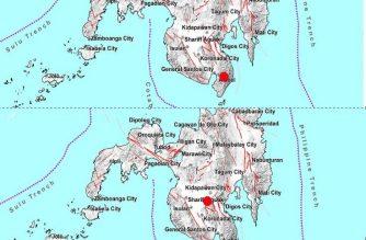 Locator maps showing the 4.2 magnitude quake that struck Sarangani at around 2 a.m. Monday, April 20, (top) followed by the 4.3 magnitude quake that struck Sultan Kudarat ar 4:30 a.m., Monday, April 20, 2020 (bottom image).  (Screenshot of photos from PHIVOLCS locator maps/ Courtesy PHIVOLCS)