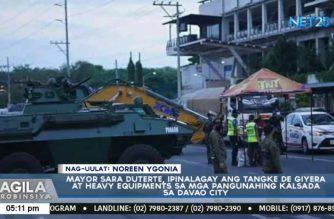 Mayor Sara Duterte places tanks, heavy equipment in Davao City's major roads to block ECQ violators