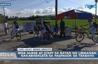 Mga nurse at staff sa Libmanan, Camarines Sur, nakabisekleta sa pagpasok sa trabaho
