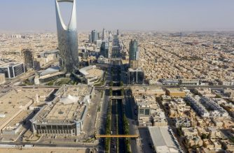 An aerial view shows Kingdom tower and the King Fahad road, which remains empty due to the COVID-19 pandemic, on the first day of the Eid al-Fitr feast marking the end of the Muslim holy month of Ramadan, in the Saudi capital Riyadh, on May 24, 2020. - Saudi Arabia, home to Islam's holiest sites, began a five-day round-the-clock curfew from May 23, in a bid to stem the spread of the novel coronavirus. (Photo by FAISAL AL-NASSER / AFP)