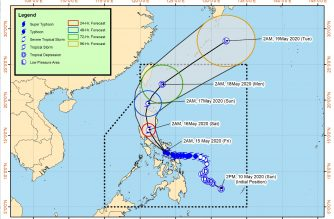 """Typhoon """"Ambo"""" makes landfall over Burias Island, its 5th landfall so far, as it continues to weaken"""