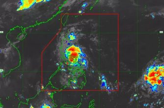 """""""Ambo"""" has maintained its strength and has made landfall over San Andres, Quezon, its sixth landfall so far, the Philippine Atmospheric Geophysical and Astronomical Services Administration said on Friday, May 15./PAGASA/"""